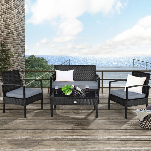 Costway 4PCS Outdoor Patio Rattan Furniture Set Cushioned Sofa Coffee Table Garden Deck Perspective: front