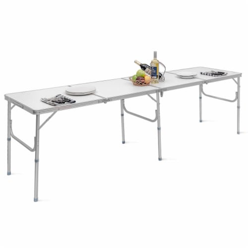 Costway 8FT Aluminum Folding Picnic Camping Table Lightweight In/Outdoor Garden Party Perspective: front