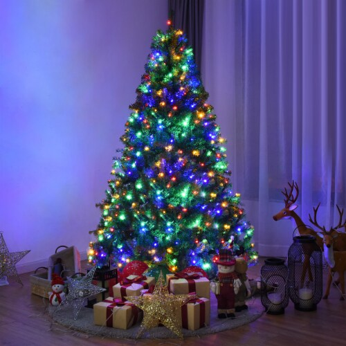 Costway 6Ft Pre-Lit Artificial Christmas Tree Hinged 350 LED Lights Perspective: front