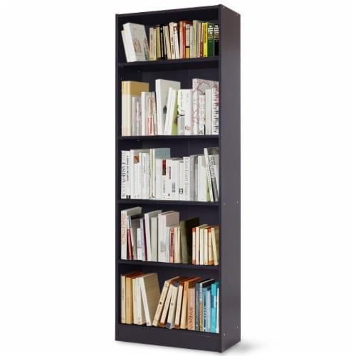 Costway Modern 5 Tier Shelf Bookcase Storage Media Storage Organization Cabinet Black Perspective: front
