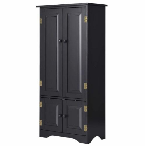 Costway Accent Storage Cabinet Adjustable Shelves Antique 2 Door Floor Cabinet Black Perspective: front