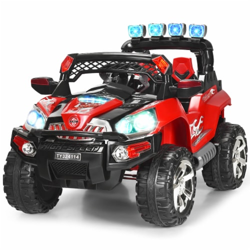 Costway 12V Kids Ride On Truck Car SUV MP3 RC Remote Control w/ LED Lights Music Perspective: front