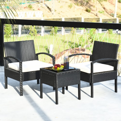 Costway 3PCS Patio Rattan Furniture Set Table & Chairs Set with Coushions Outdoor Perspective: front