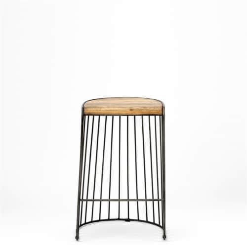 Merana Seagram 26.5  Seat Height Brown Wood Seat Black Metal Frame Stool Perspective: front