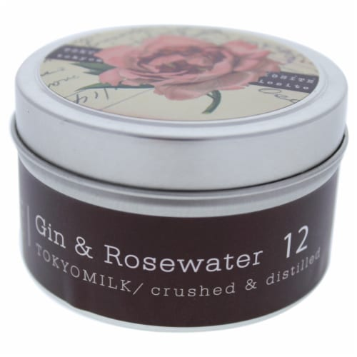 TokyoMilk Gin & Rosewater Tin Candle  # 12 4 oz Perspective: front