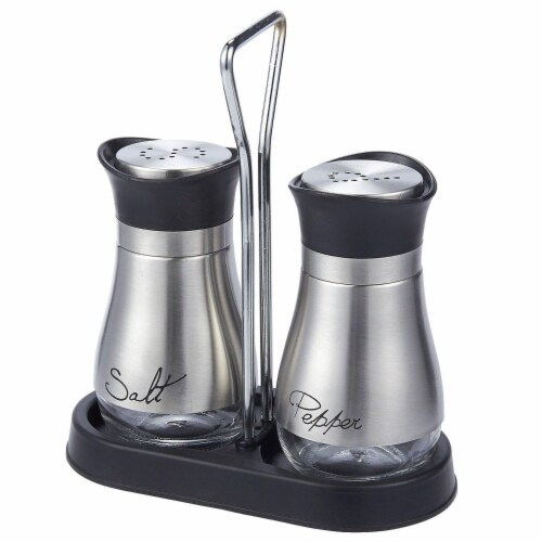 Stainless Steel Salt and Pepper Shakers Set with Glass Bottom and 4' Stand, 4 oz Perspective: front