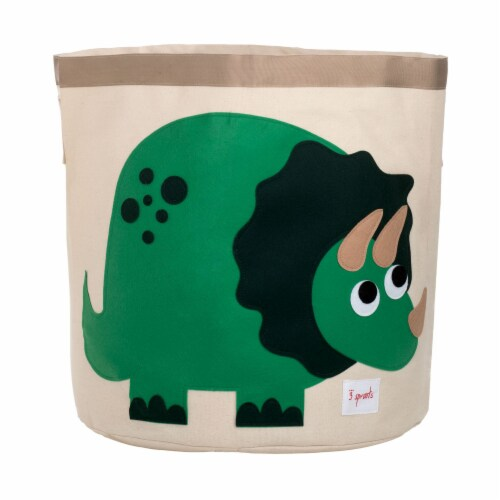 3 Sprouts Canvas Storage Bin - Laundry and Toy Basket for Baby and Kids - Dinosaur Perspective: front