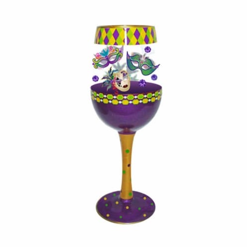 Bottoms Up by 95 & Sunny WGMARDIGRASDEUX 15 oz Wine Glass Mardi Gras Deux Bottoms Up Decor Perspective: front