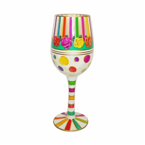 Bottoms Up by 95 & Sunny WGSTRIPES 15 oz Wine Glass Stripes Bottoms Up Decor Perspective: front