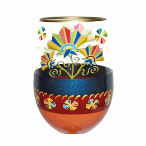 95 & Sunny SLDECOFLORAL 18 oz Deco Floral Bottoms Up Stemless Wine Glass Perspective: front
