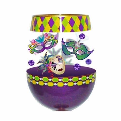 95 & Sunny SLMARDIGRASDEUX 18 oz Mardi Gras Deux Bottoms Up Stemless Wine Glass Perspective: front