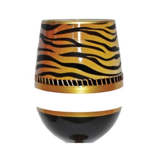 95 & Sunny SLDECOTIGER 18 oz Deco Tiger Bottoms Up Stemless Wine Glass Perspective: front