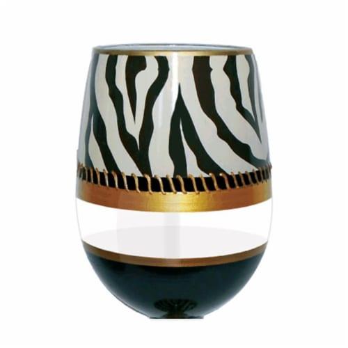 95 & Sunny SLDECOZEBRA 18 oz Deco Zebra Bottoms Up Stemless Wine Glass Perspective: front