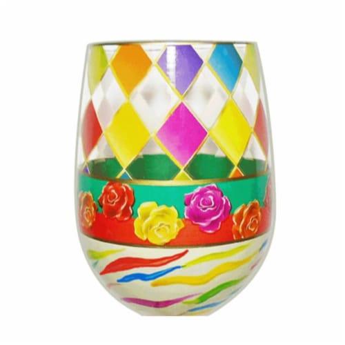 95 & Sunny SLDIAMONDS 18 oz Diamonds Bottoms Up Stemless Wine Glass Perspective: front