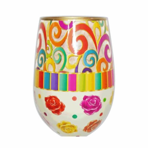 95 & Sunny SLSCROLLS 18 oz Scrolls Bottoms Up Stemless Wine Glass Perspective: front