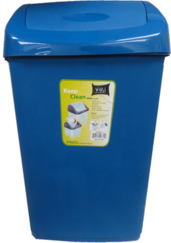 VMI Houseware Keep Clean Swing Top Trash Can - Blue Perspective: front