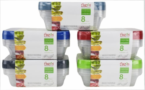 Sazon everyday Containers Rectangular Food Stoage Containers - 8 piece Perspective: front
