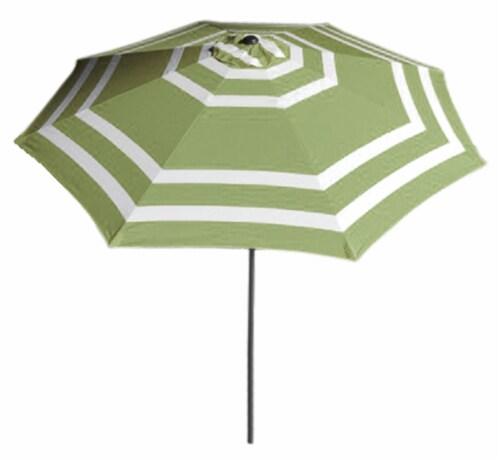 VM International Wide Stripe Umbrella - Olive Green Perspective: front
