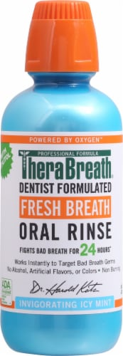 TheraBreath Invigorating Icy Mint Fresh Breath Oral Rinse Perspective: front