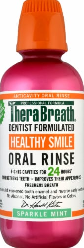 TheraBreath Healthy Smile Sparkle Mint Oral Rinse Perspective: front