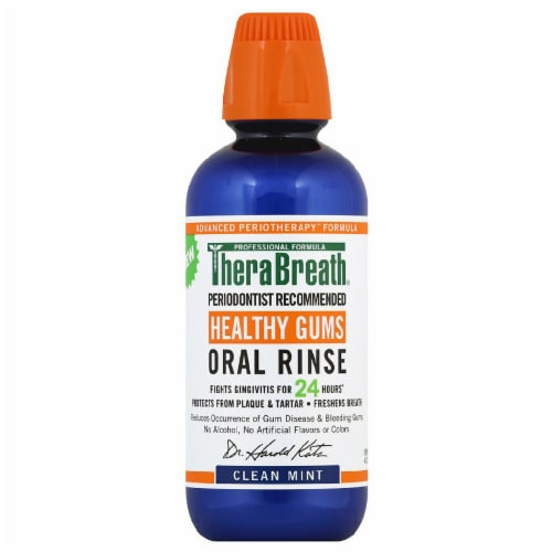 Therabreath Clean Mint Healthy Gums Oral Rinse Perspective: front