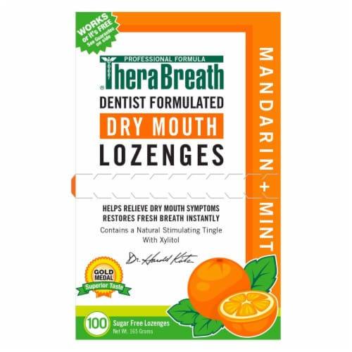 Therabreath Mandarin & Mint Dry Mouth Lozenges Perspective: front
