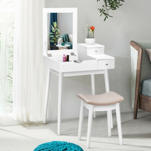 Costway Vanity Dressing Table Flip Desk Furniture Stool 2 White Perspective: front