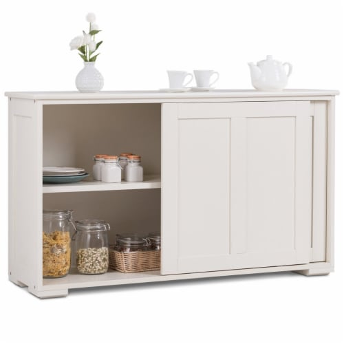 Costway Kitchen Storage Cabinet Sideboard Buffet Cupboard Wood Sliding Door Pantry Perspective: front