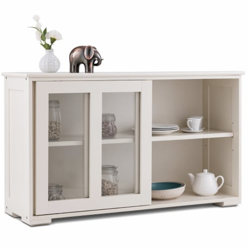 Costway Storage Cabinet Sideboard Buffet Cupboard Glass Sliding Door Pantry Kitchen Off-White Perspective: front