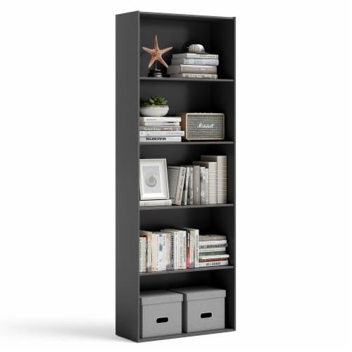 Costway 5-Shelf Storage Bookcase Modern Multi-Functional Display Cabinet Furniture Black Perspective: front