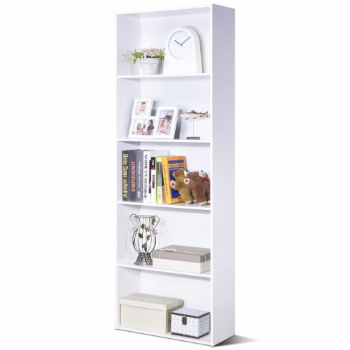 Costway 5-Shelf Storage Bookcase Modern Multi-Functional Display Cabinet Furniture White Perspective: front