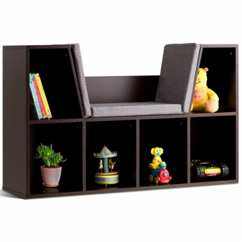 Costway 6 Cubby Kid Storage Cabinet Cushioned Bookcase Multi-Purpose Reading Shelf Brown Perspective: front