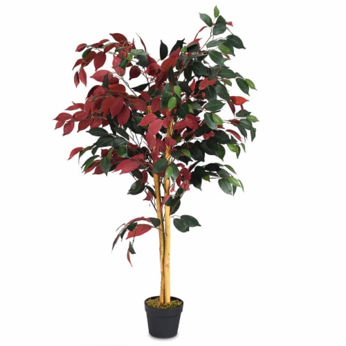 Gymax Artificial Capensia Bush Home Decor 4 Feet Red Green Leaves Perspective: front