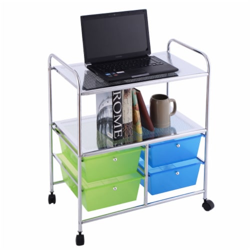 Gymax Rolling Storage Cart Metal Rack Shelf 4 Drawers Home Office Furniture Perspective: front