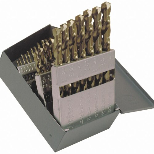 Jobber Drill Bit Set,  Number of Drill Bits 29,  Drill Bit Point Angle 135° Perspective: front