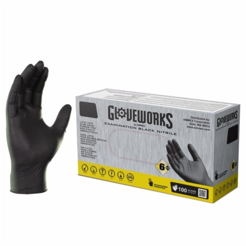 Ammex Gloveworks Nitrile Disposable Exam Gloves X-Large Black Powder Free 100 pk - Case Of: Perspective: front