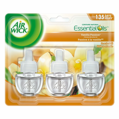 Air Wick Plug-in Air Freshener Scented Oil Refills Vanilla Passion, 3 Refills Perspective: front