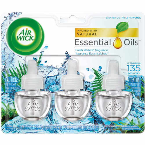 Air Wick Plug-in Air Freshener Scented Oil Refills Fresh Waters, 3 Refills Perspective: front