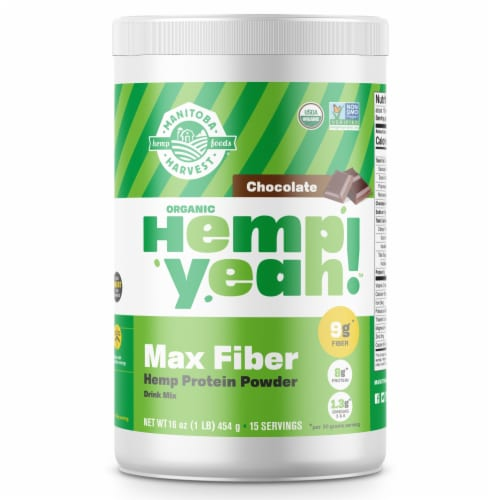 Manitoba Harvest Organic Dark Chocolate Hemp Protein Powder Perspective: front