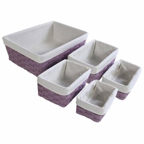 Juvale Nesting Baskets, Woven Storage Baskets (Lavender, 5 Piece Set) Perspective: front