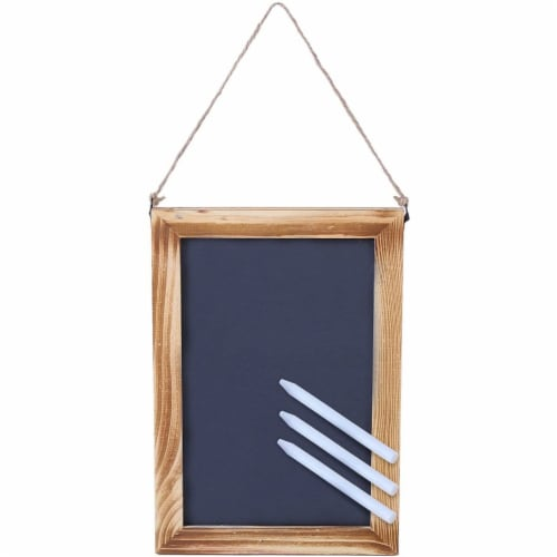 Hanging Chalkboard Signs with White Chalk Sticks (7 x 10 In, 3 Pack) Perspective: front