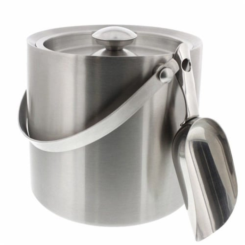 Insulated Stainless Steel Ice Bucket with Scoop, Lid and Handle (6.6 x 7.5 in) Perspective: front