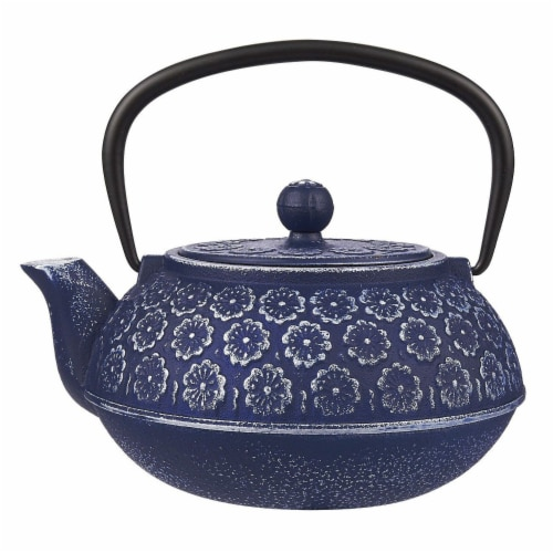 Blue Floral Cast Iron Teapot Kettle with Stainless Steel Infuser 1 Liter Perspective: front