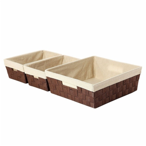 3-Piece Woven Storage Baskets,  Brown and Beige, Small, Medium, and Large Perspective: front