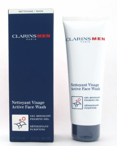 Clarins Men Active Face Wash Foaming Gel Purifying Sealed Tube 125 ml./ 4.4 oz. New Perspective: front