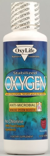 Oxylife  Oxygen with Colloidal Silver and Aloe Vera   Mountain Berry Perspective: front