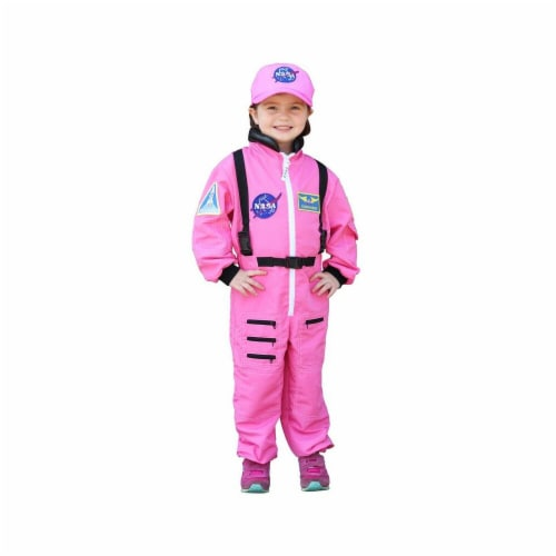 Aeromax Industries AEAASP46 Nasa Astronaut Pink Jumpsuit Get Real Gear Dress Up for Kids - Si Perspective: front