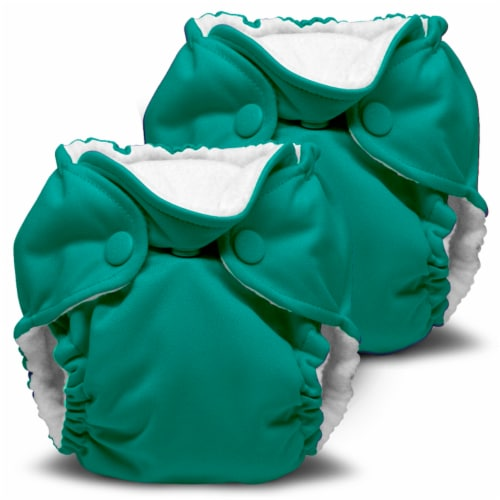 Kanga Care Lil Joey Newborn All in One AIO Cloth Diaper (2pk) Peacock 4-12lbs Perspective: front