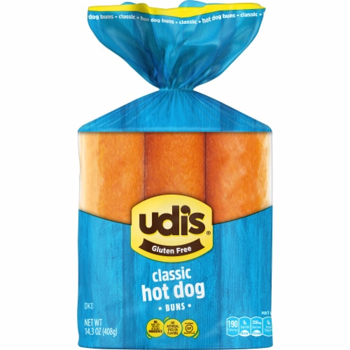 Udi's Gluten Free Classic Hot Dog Buns Perspective: front