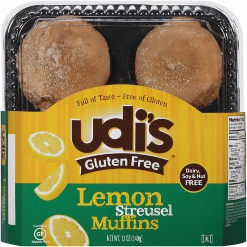 Udi's Gluten Free Lemon Streusel Muffins 4 Count Perspective: front